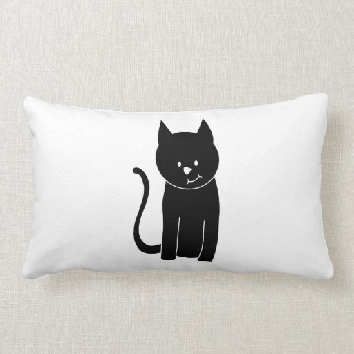 Cute Black Cat Throw Pillows