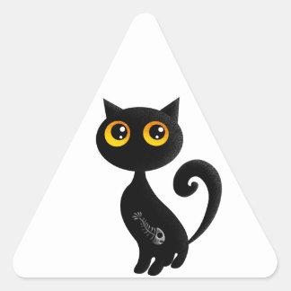 Cute Black Cat Triangle Sticker