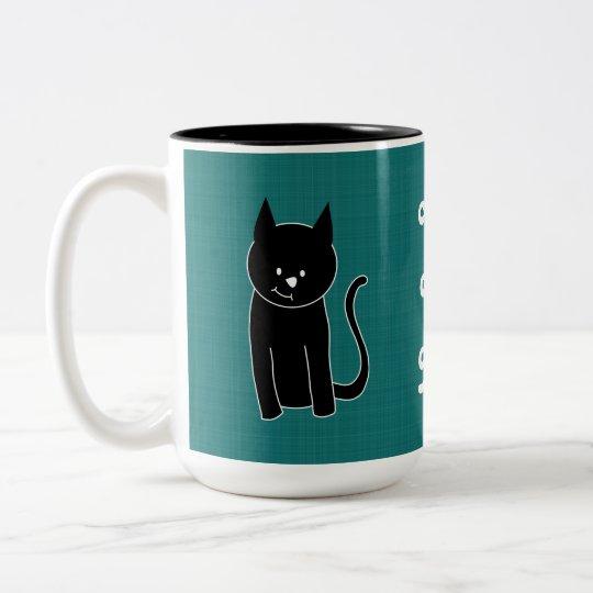Cute Black Cat Two-Tone Coffee Mug