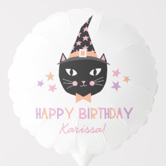 Cute Black Cat Witch Halloween Birthday Name Balloon