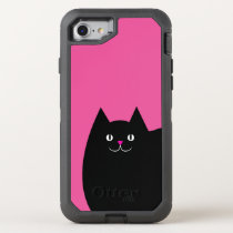 Cute Black Cat with a Bright Pink Nose OtterBox Defender iPhone 7 Case