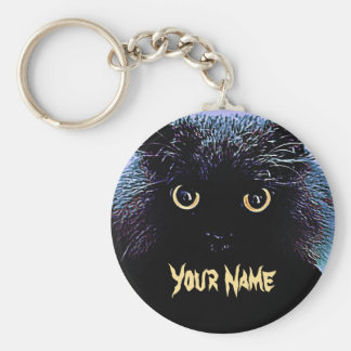 Cute Black Cat with Glowing Golden Eyes Keychain