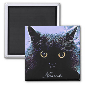 Cute Black Cat with Golden Eyes 2 Inch Square Magnet