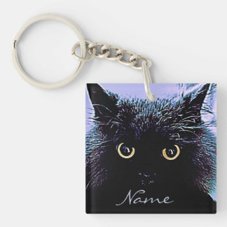 Cute Black Cat with Golden Eyes Keychain