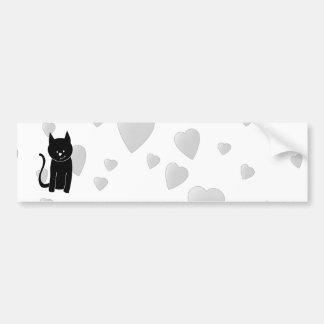Cute Black Cat with Hearts Bumper Sticker