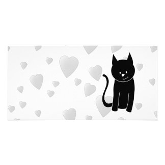 Cute Black Cat with Hearts. Card