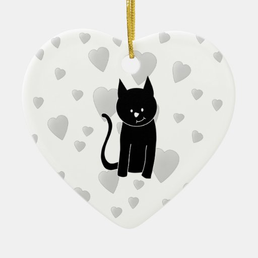 Cute Black Cat with Hearts. Christmas Tree Ornament