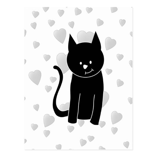 Cute Black Cat with Hearts. Postcard
