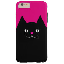 Cute Black Cat With Pink Nose Tough iPhone 6 Plus Case