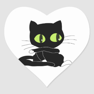 Cute Black Cat with White Paws Heart Sticker