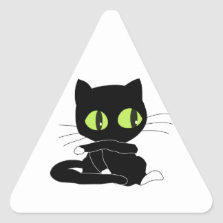 Cute Black Cat with White Paws Triangle Sticker