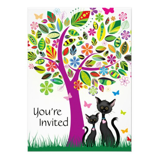 Cute Black Cats and Flower Tree Baby Shower Invite