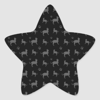 Cute black cats and paws pattern star sticker