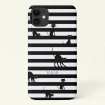 Cute Black Cats and Stripes Custom iPhone 11 Case