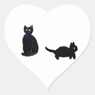 Cute Black Cats Art Heart Sticker