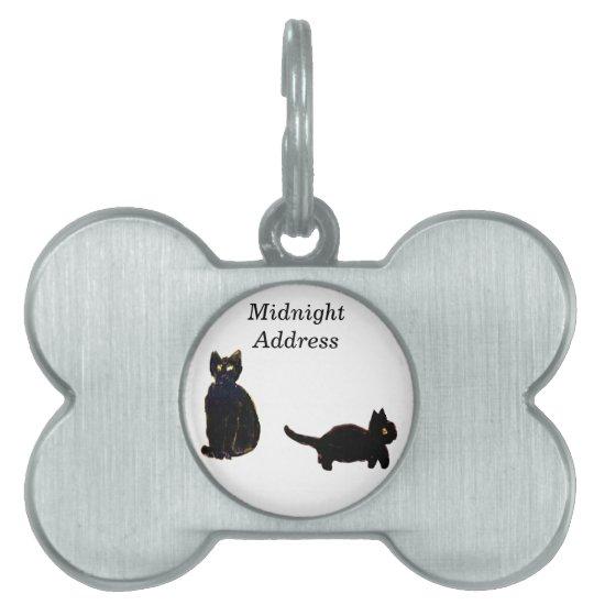 Cute Black Cats Art Pet Name Tag
