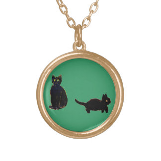 Cute Black Cats Art Round Pendant Necklace