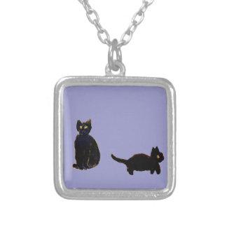 Cute Black Cats Art Square Pendant Necklace