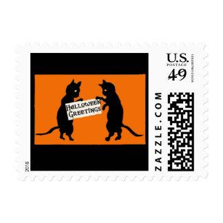 Cute Black Cats Halloween Art Postage