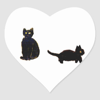 Cute Black Cats Heart Sticker