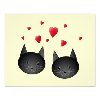 """Cute Black Cats with Hearts, on cream. 4.5"""" X 5.6"""" Flyer"""