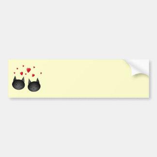 Cute Black Cats with Hearts on cream Bumper Sticker