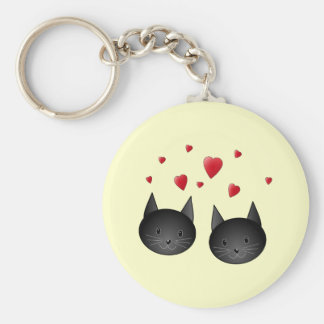 Cute Black Cats with Hearts on cream Keychains