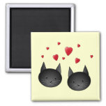 Cute Black Cats with Hearts, on cream. Fridge Magnets