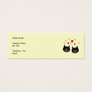 Cute Black Cats with Hearts, on cream. Mini Business Card
