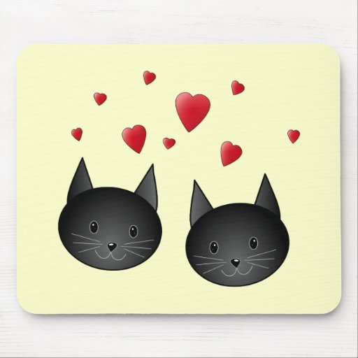 Cute Black Cats with Hearts, on cream. Mouse Pad