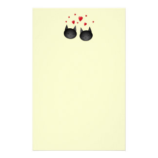 Cute Black Cats with Hearts, on cream. Stationery