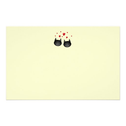 Cute Black Cats with Hearts, on cream. Customized Stationery