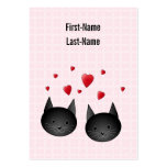 Cute Black Cats with Hearts, on pale pink. Custom Business Card Template