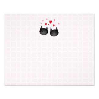 Cute Black Cats with Hearts, on pale pink. Custom Personalized Flyer