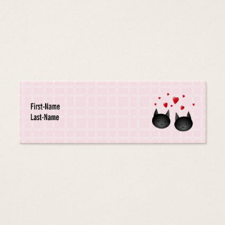 Cute Black Cats with Hearts, on pale pink. Custom Mini Business Card