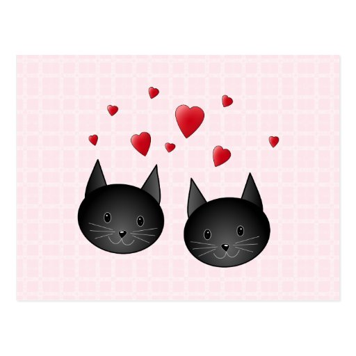 Cute Black Cats with Hearts, on pale pink. Custom Postcard