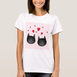 Cute Black Cats with Hearts, on pale pink. Custom T-Shirt