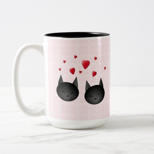 Cute Black Cats with Hearts, on pale pink. Custom Two-Tone Coffee Mug