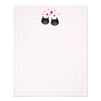 Cute Black Cats with Hearts, on pale pink. Flyers