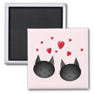Cute Black Cats with Hearts, on pale pink. Magnet