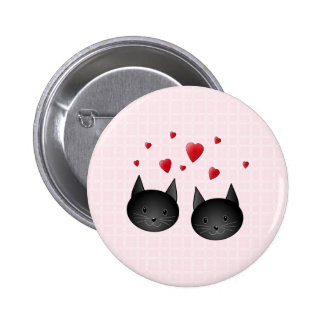 Cute Black Cats with Hearts, on pale pink. Pinback Button