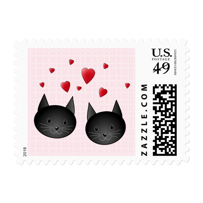 Cute Black Cats with Hearts, on pale pink. Postage