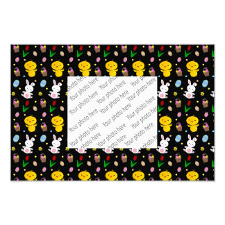 Cute black chick bunny egg basket easter pattern photo art