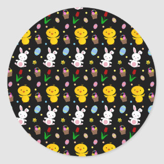 Cute black chick bunny egg basket easter pattern classic round sticker