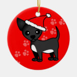 Cute Black Chihuahua Santa Hat - Green and Red Christmas Tree Ornament