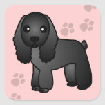 Cute Black Cocker Spaniel Cartoon Sticker