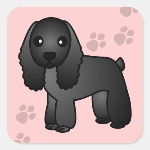 Cute Black Cocker Spaniel Cartoon Sticker
