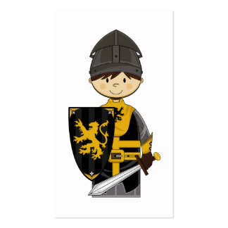 Cute Black Crusader Knight Bookmark Business Card Templates