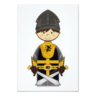 Cute Black Crusader Knight RSVP Card