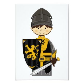 Cute Black Crusader Knight RSVP Card